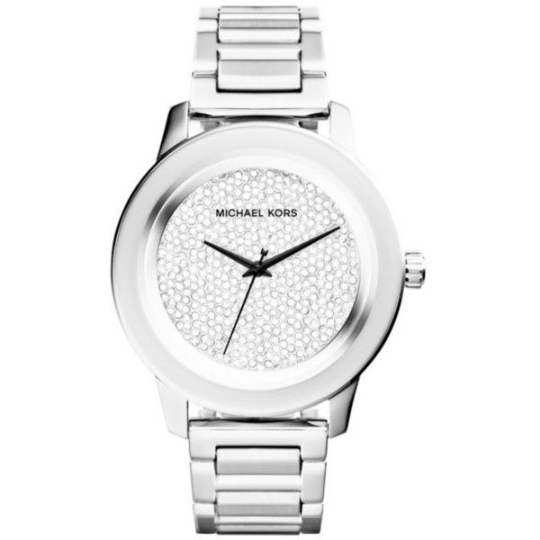 Michael Kors Silver Womens Stainless Steel Kinley Pave Watch - Women's (1.295 RON) ❤ liked on Polyvore featuring jewelry, watches, silver, dial watches, michael kors, chunky silver jewelry, stainless steel watches and silver watches
