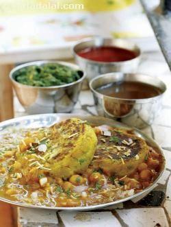 Ragda Pattice by Tarla Dalal, combination of tasty pattice, chutneys, chopped onions, masala and coriander.