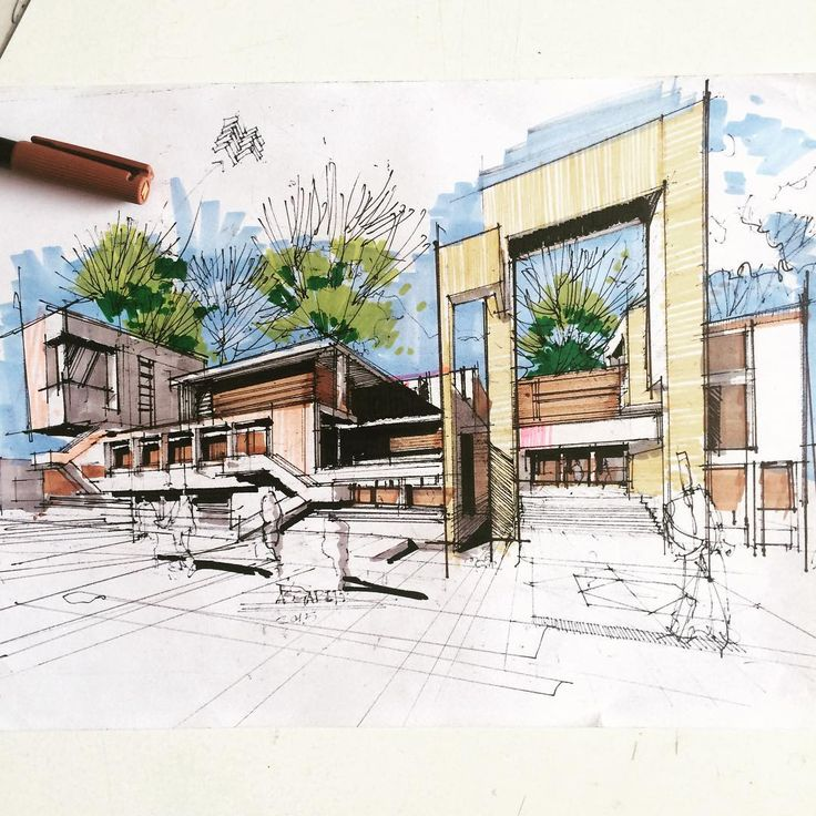 Best Architectural Color Renderings By Marker Pens Images On