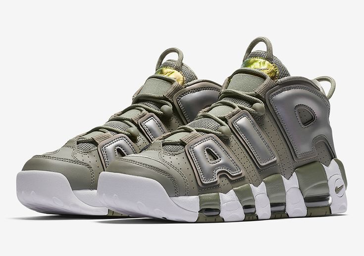 951f10a5537 Official Images Of The Women s Nike Air More Uptempo Olive Iridescent