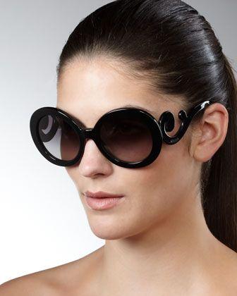 Baroque Sunglasses, Black by Prada at Neiman Marcus.