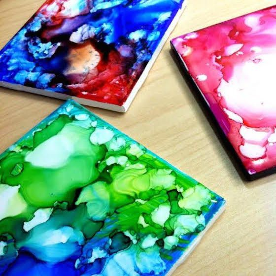 ink coasters using sharpie and rubbing alcohol - beautiful! Can't wait to try this