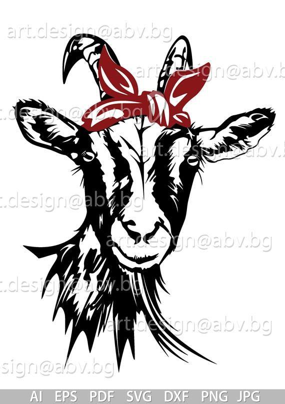 Vector Goat With Bandana 3 Colors Ai Png Eps Pdf Svg Etsy Goats Svg Digital Image