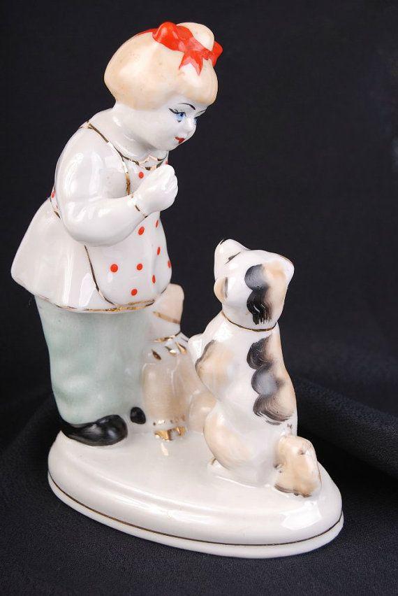 Soviet RUSSIAN ZHK Porcelain Figurine Girl w/ Dog by BerryPlace, $46.01 etsy.com