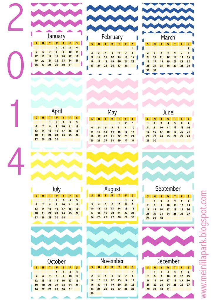 FREE printable 2014 chevron calendar cards