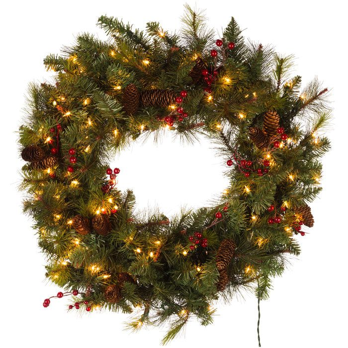 """36"""" Donner Pine Lighted Wreath"""