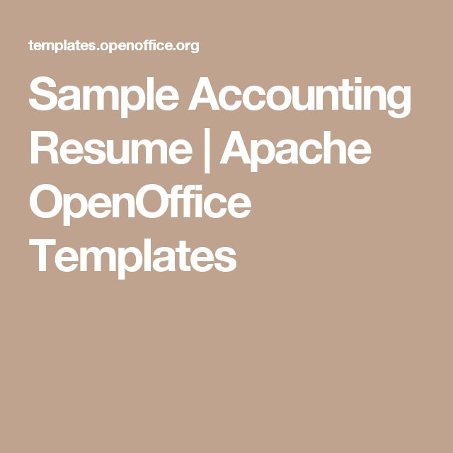 Sample Accounting Resume | Apache OpenOffice Templates