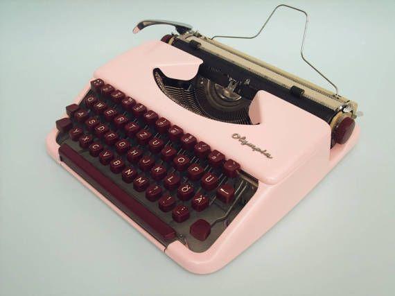 Pink Typewriter Olympia Splendid Vintage by SimplyModernGoods