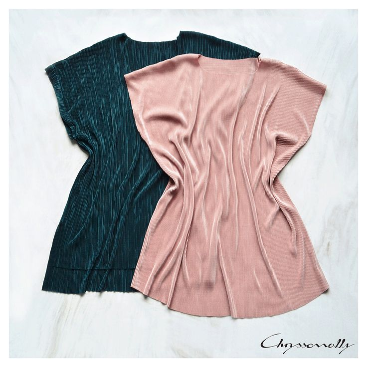 SARTORIAL   Chryssomally    Art & Fashion Designer - Pleated kimono style tops in blush pink and forest green hues