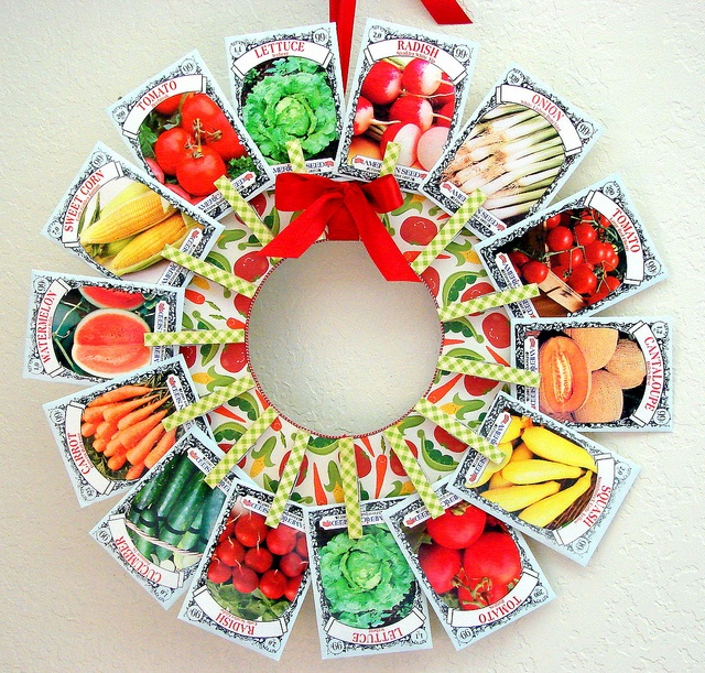 Seed packet wreath made with clothespins (see tea packet wreath for how-to's)