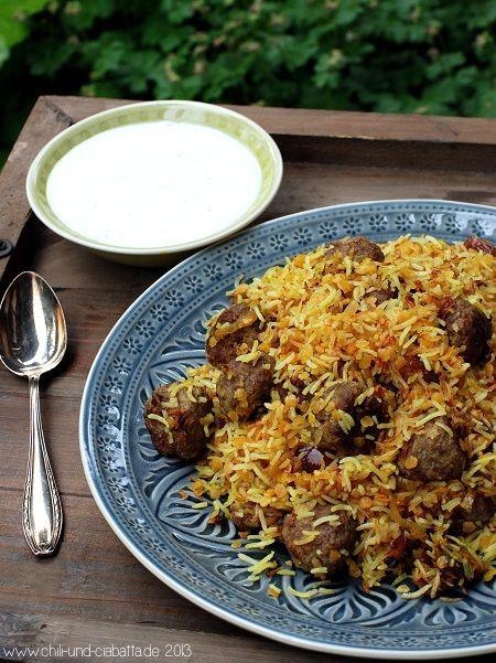 Persischer Reis mit Datteln und Lammhackbällchen - Chili und Ciabatta