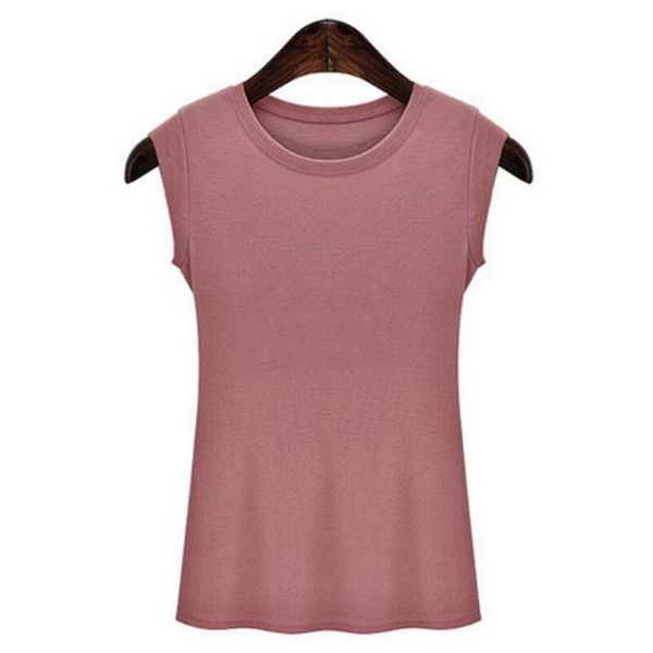 Europe Round Neck Sleeveless Pure Color Bodycon Plus Size T-shirts (€9,68) ❤ liked on Polyvore featuring tops, t-shirts, round neck t shirt, women's plus size tops, plus size women's t shirts, plus size womens tees and plus size sleeveless tops