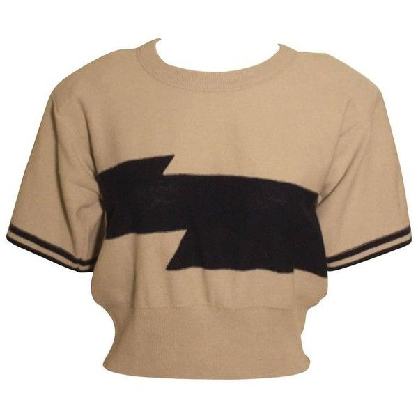 Preowned Vintage 1980s Sonia Rykiel Short Sleeve Sweater ($195) ❤ liked on Polyvore featuring tops, sweaters, brown, striped top, beige top, vintage sweaters, stripe top and short sleeve sweater
