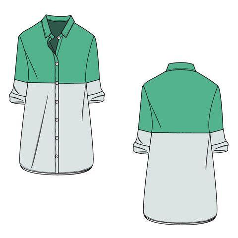 Women's Long Colorblock Shirt Fashion Flat Template