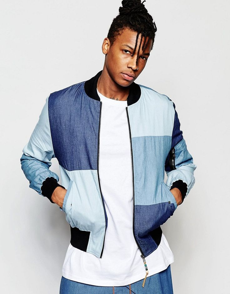 The New County Bomber Jacket In Patchwork Denim