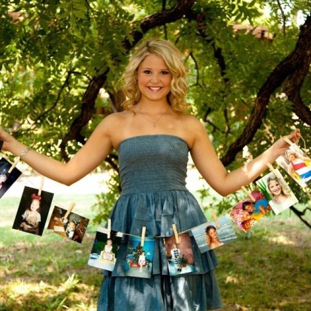 Senior pic idea.... Clip pics of the kiddo through the years to a clothesline!!!!!