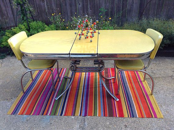 1950s midcentury yellow formica kitchen table - Formica Kitchen Table