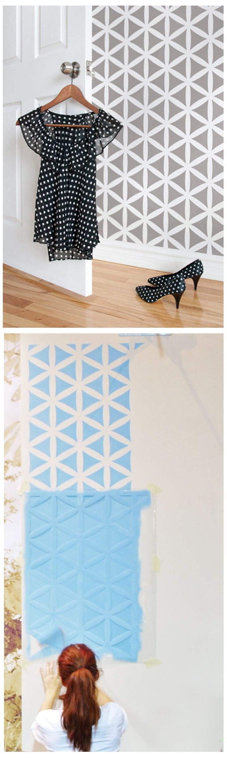 Flower of Life geometric pattern. Large wall stencil for diy project.