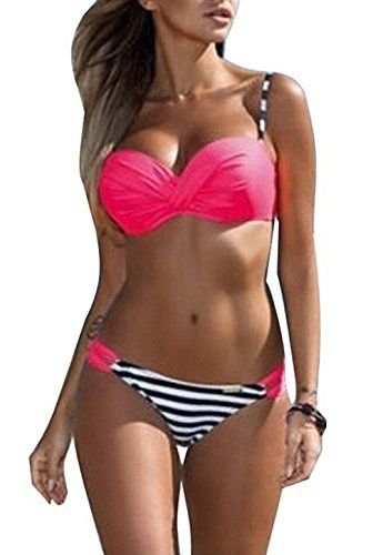 e35accb93d69 Kprdeo Women Fashion Push Up Two Piece Bikini Swimsuits Candy Patch Padded  Swimwear S-XXXL