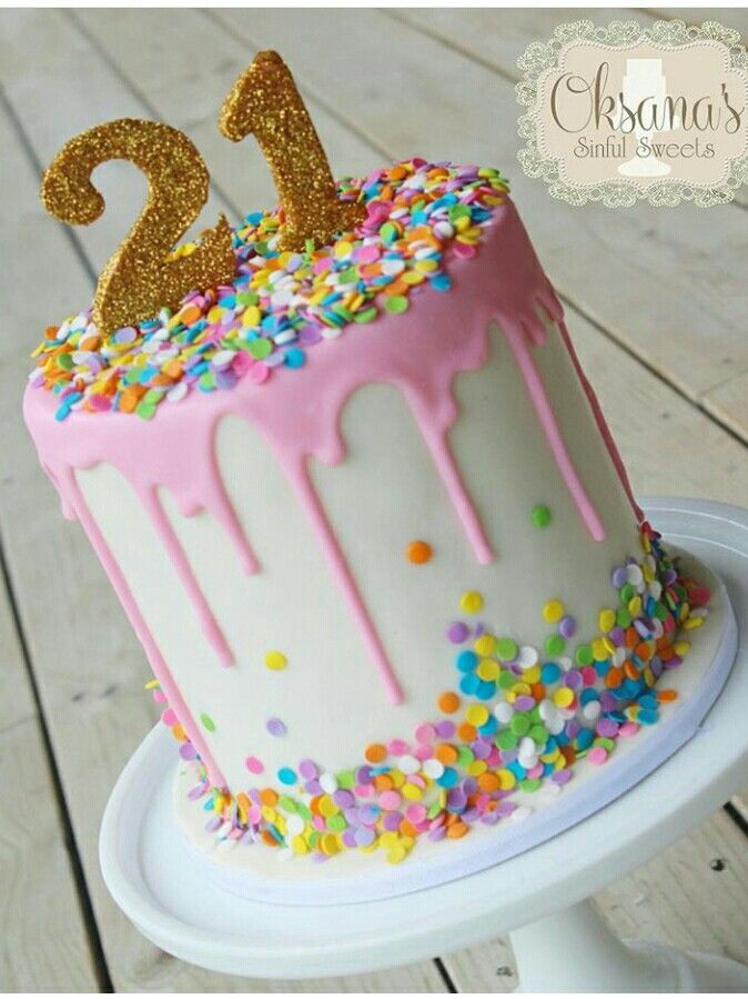Pink 21th Birthday Drip Cake