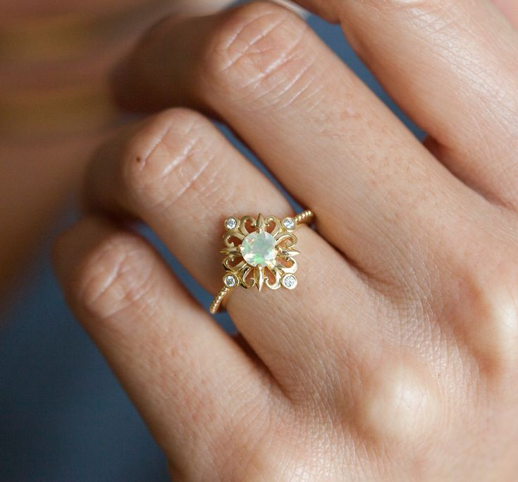 Victorian Style Oval Opal And Diamond Ring
