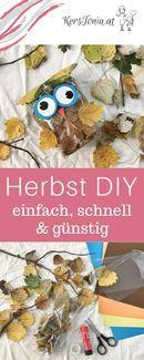 DIY ganz einfach: Eulen Herbst Deko aus Blättern in Tüten / Sackerl. Ruckzuck und ganz einfach selbst gemacht. Easy DIY hand craft leave owl in bags.