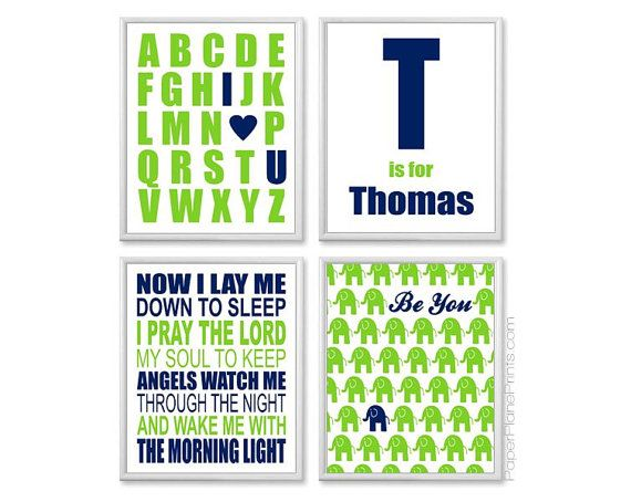 Navy Blue and Lime Green Boys Nursery Art, Bedtime Prayer, Elephant Picture, ABC Alphabet Wall Art, Personalized 8x10 Set on Etsy, $45.00