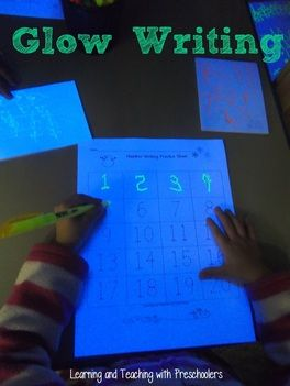 """""""Glow"""" Writing (from Learning & Teaching With Preschoolers)"""