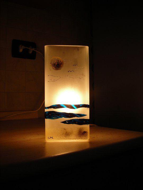 """lampada decorata con resine bicomponente """"paesaggio marino"""""""