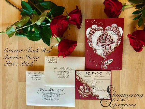 This is our beauty and the beast inspired princess rose wedding invitation suite. It is cut with so that the iconic beautiful rose surrounded by elegant scrolls create a gate for your custom invitation. The RSVP matches with a smaller rose that sits in front of your RSVP card. Its the perfect invitation for that princess inspired wedding or event. FOR SAMPLES, Please indicate the following under note for seller or in a conversation: -Exterior gate color (from color chart above) -Interior…