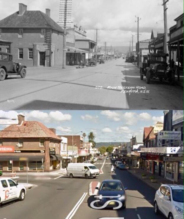 High Street near Castlereagh Street, Penrith, looking west in the 1920's and 2014. [1920's - Penrith City Council>2015 - Google Street View. By Phil Harvey]