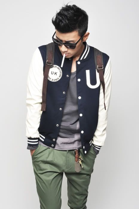 mens varsity jacket . olive pants