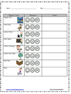 Kindergarten Behavior Management Chart - very visual & specific