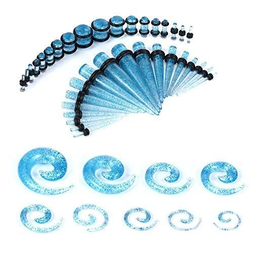 BodyJ4You Gauges Kit Aqua Glitter Acrylic Tapers Plugs Spirals 14G-00G Ear Stretching Body Jewelry 54 Pieces