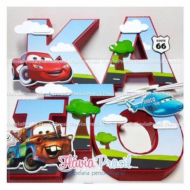 Letras 3D Carros