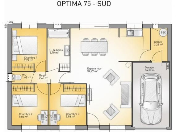 Mod le de maison optima 75 photo 1 plan maison - Modele de plan maison ...
