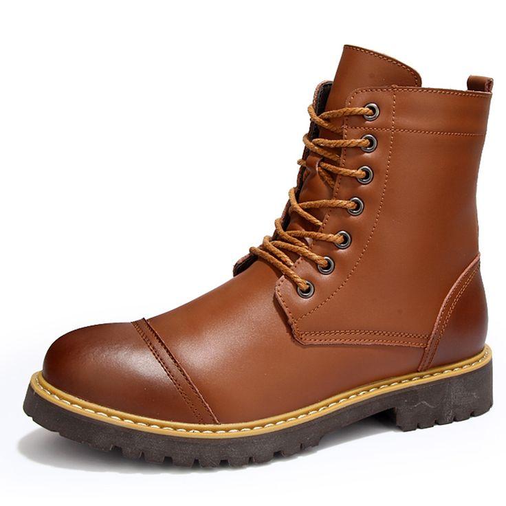 Haute Qualité New BOTTES hommes en cuir véritable hiver Mode Plus Chaussures en coton velours lacent britannique Martin Bottes Lt1EB