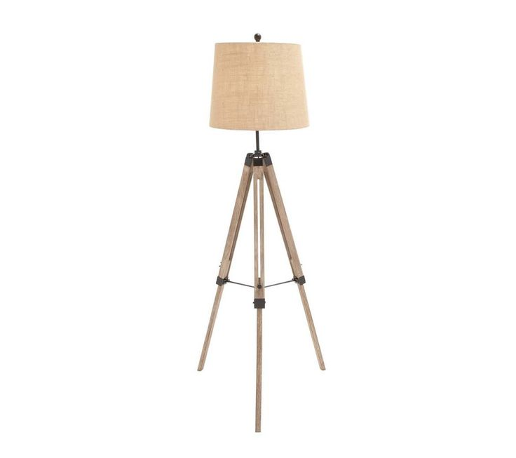 Light brown wooden tripod floor lamp with cream shade keep it on your floor and