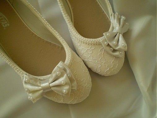 White Bow - svadobné balerínky
