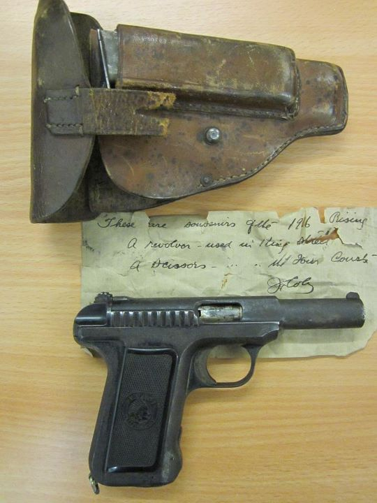 Artefacts from the General Post Office, 1916 | Irish Volunteers. Savage Model 1907 Pistol and Holster 1916 Item Artefact