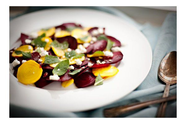 RED & GOLDEN BEET CARPACCIO + GOAT CHEESE & MINT