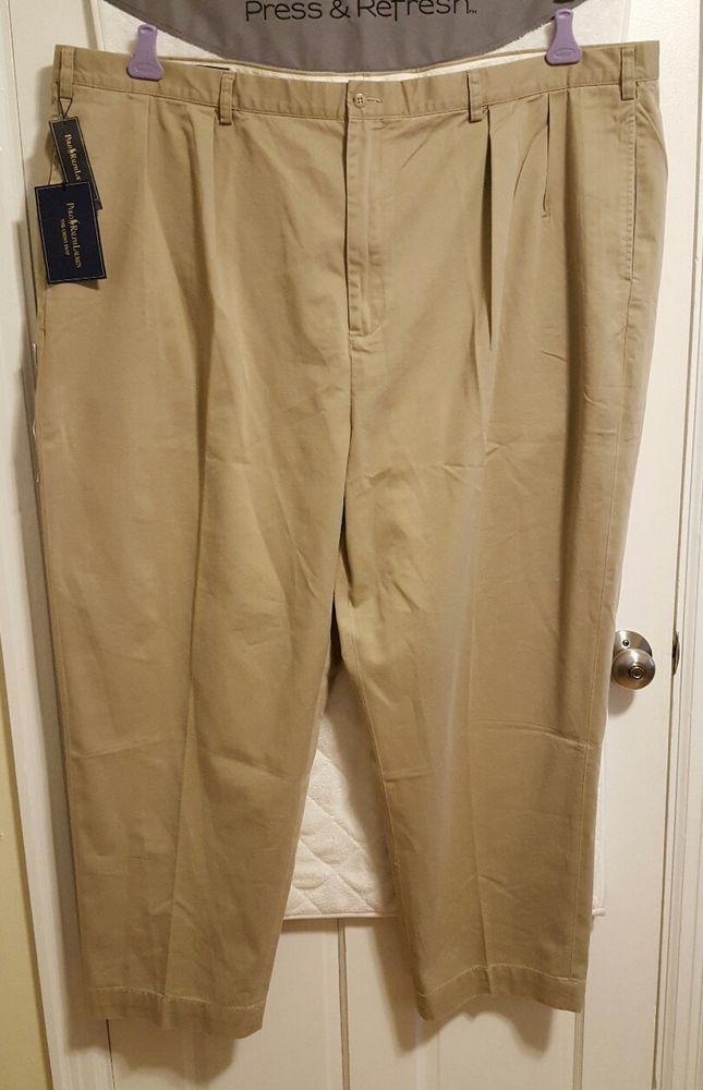 NWT Polo Ralph Lauren Mens Big 54 Inseam 30 Classic Chino Andrew Pleated Pants #PoloRalphLauren #KhakisChinos