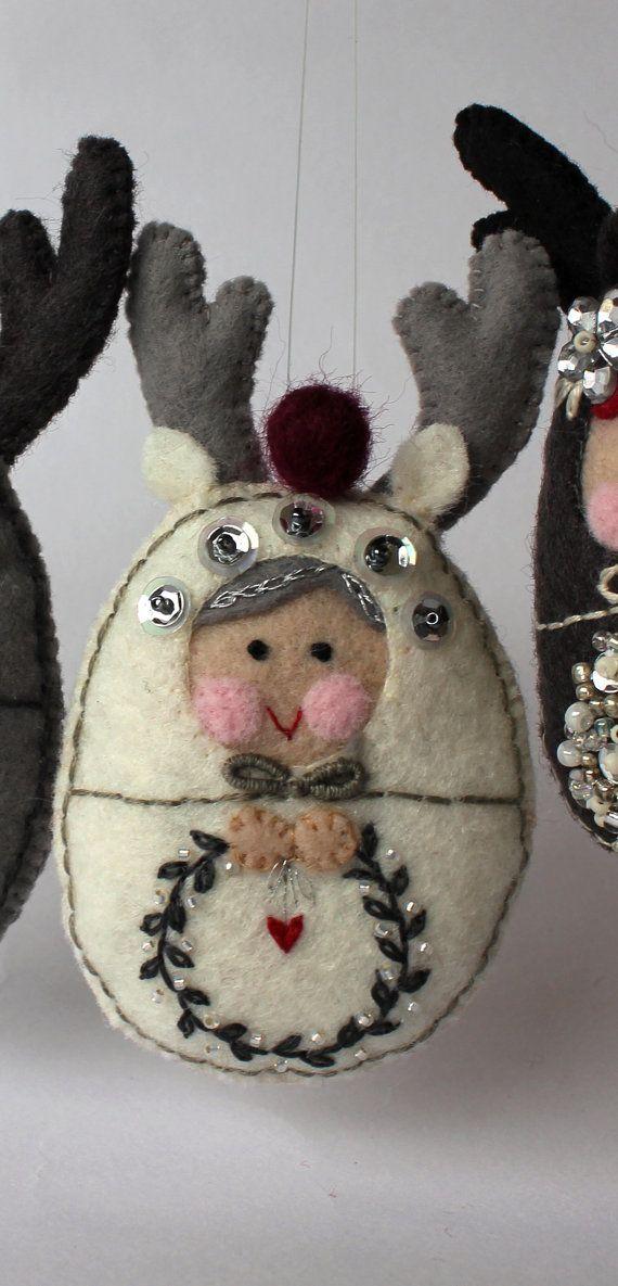 Matryoshka  Reindeer Helper Decoration Hand by TheSnowQueensGarden, $15.50