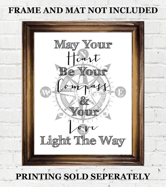 nautical wedding theme gift ideas, printable quote art, let your heart be your compass and love light the way,