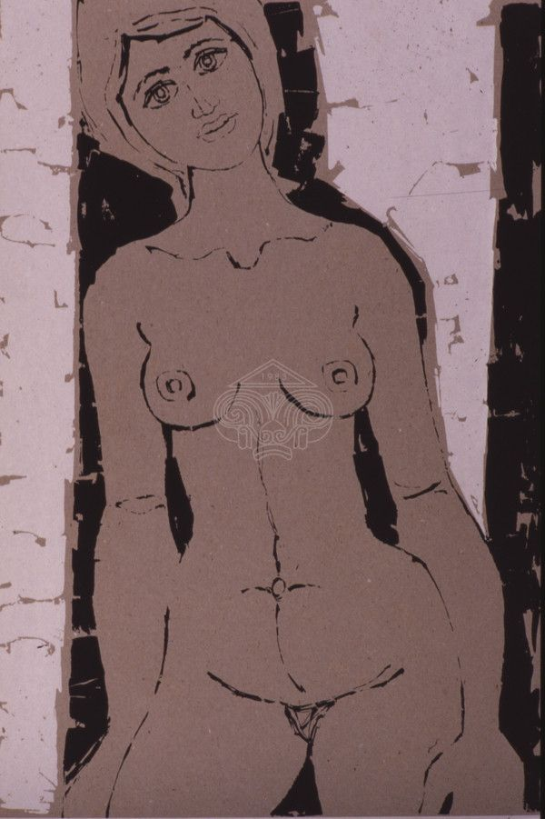 Nude. Lithography. George Sikeliotis.