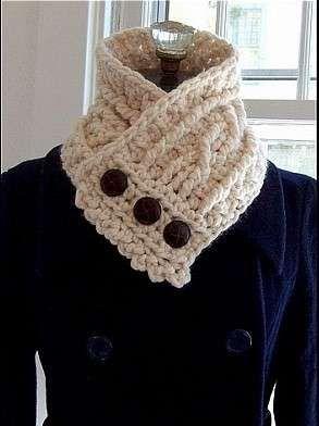 Bufandas de crochet: Fotos de diseños - Bufanda de crochet en color beige con…