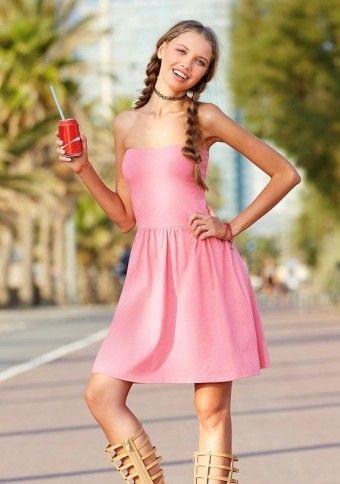 Krátke šaty bez ramienok #ModinoSK #pink #dress