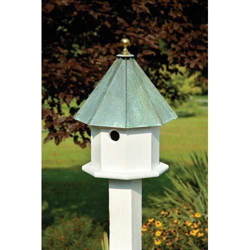 Oct Avian White With Verdi Copper Roof Birdhouse Heartwood Birdhouses Bird Feeders & Birdh
