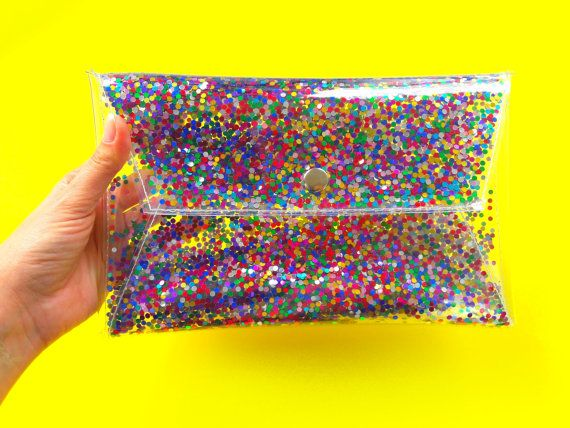Cute rainbow clutch Clear purse bag transparent 90s by YPSILONBAGS