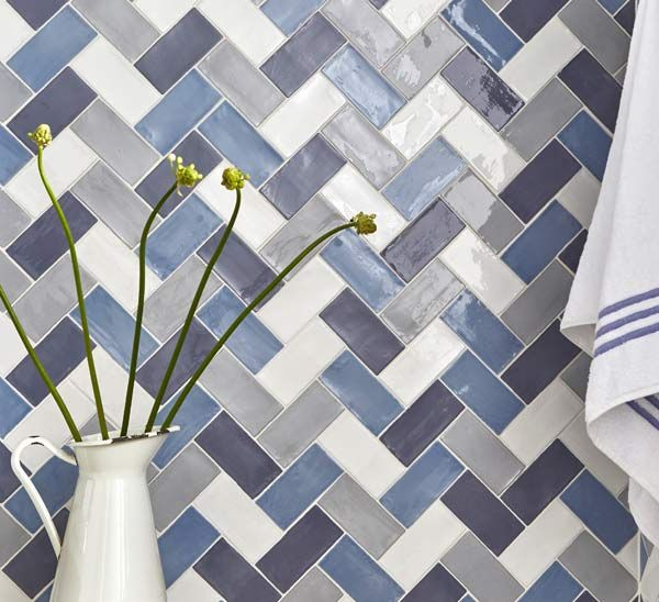 Herringbone design using Country Cottage Metro Tiles
